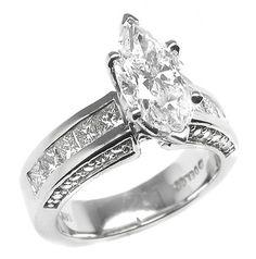 marquise cut diamond wedding ring sets | 41ct Marquise Cut Diamond 14k Gold Engagement Ring | New York Estate ...