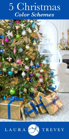 Tired of traditional red and green? Here are 5 Christmas Color Schemes To Try. Blue and Gold Christmas Color Scheme - Holiday Decorating Ideas Christmas Tree Colour Scheme, Colorful Christmas Tree, Gold Christmas, Christmas Colors, Christmas Tree Ornaments, Christmas Holidays, Christmas Crafts, Christmas 2019, Vintage Christmas