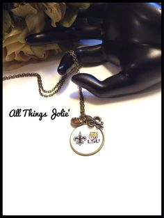 LSU Tigers Football and New Orleans Saints Fleur De Lis Necklace  by AllThingsJolie78 on Etsy NFL