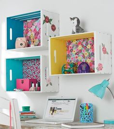 Crate shelf with fabric back and painted sides | DIY Organization | DIY Wooden
