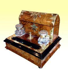Quality Brass Bound BurrWalnut Antique Writing Box