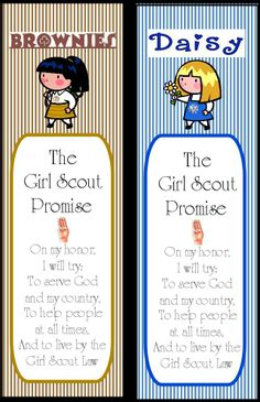 Brownies and Daisy Girl Scout Bookmarks