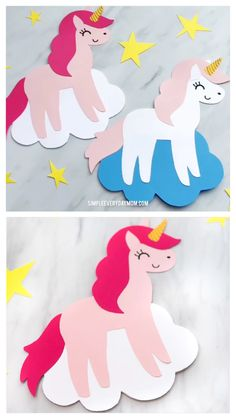DIY Unicorn Card Craft For Kids - Crafts for kids - İdeen Diy Unicorn, Unicorn Crafts, Unicorn Party, Magical Unicorn, Unicorn Bedroom, Unicorn Kids, Unicorn Cupcakes, Unicorn Birthday, Easy Art Projects