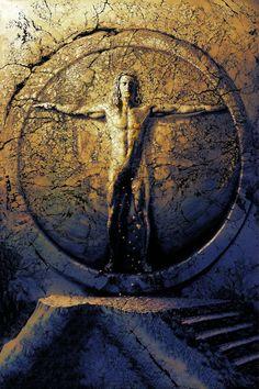 """""""Leonardo"""" - Eine Hommage an den großen Künstler Leonardo da Vinci, der mit seiner Zeichnung aus dem Jahr 1492 die menschlichen Proportionen darstellt. In HP Kolbs Digitalgemälde erhebt sich die Figur aus dem Stein. Der geschlossene Kreis symbolisiert den Zyklus schlechthin, Entstehen und Vergehen, das Schöpferische, die Ewigkeit."""