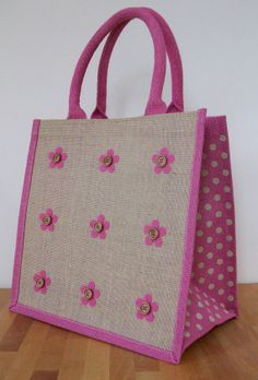 Items similar to Natural Jute Hessian Medium Pink Polka Dot Trim Shopping Bag - 9 Felt Flowers Design on Etsy Hessian Bags, Jute Tote Bags, Diy Tote Bag, Jute Shopping Bags, Potli Bags, Embroidery Bags, Linen Bag, Patchwork Bags, Bag Patterns To Sew