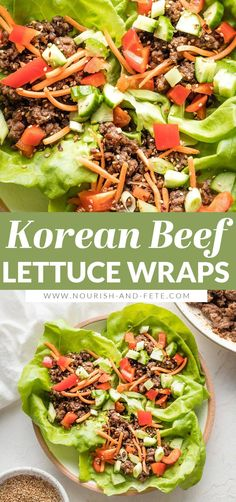 Use ground beef to make these Korean Beef Lettuce Wraps in less than 20 minutes! Delicious, healthy, easy to make; great for meal prep, too! Easy Lettuce Wraps, Lunches And Dinners, Meals, Korean Beef, Wrap Recipes, Dinner Dishes, Fish And Seafood, Ground Beef, Meal Prep