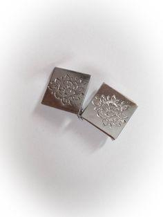 Vintage  Diamond Shaped Silver Tone Metal Earrings by ArtDecoDame