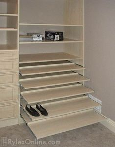 closet desk shelves | Sliding Shoe Shelves | Orange County, NY and beyond | Rylex Custom ...