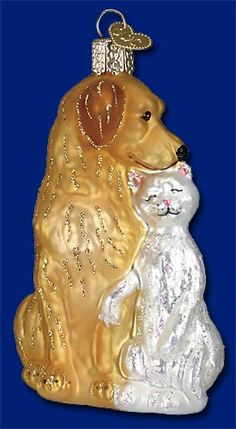"""Best Friends, 4""""  Retail $14.99  Old World Christmas Glass Ornament"""