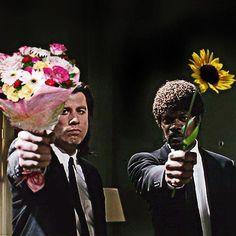 John Travolta and Sam Jackson with flowers. Sweet. - #S0FT PIN MIX
