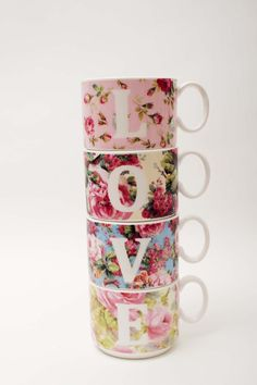 Love four floral vintage inspired bone china stacking cups from Wales.