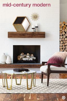 Warm and inviting, fireplaces are the perfect focal point for any living space. To keep it front and center, build a modern room around it with a mid-century–style chair and circular coffee table that draw you in. Choose an accent color and material or two—think rich berry hues, marble and metallics. This ombre, faux-fur pillow adds a burst of color and texture. And, the rich golds, luxe marble and the contrast of dark and light really pull the room together.