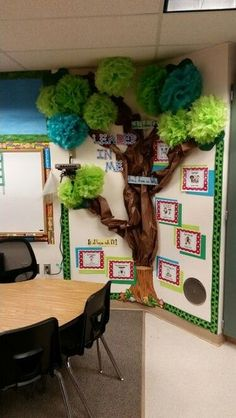 Leader in me tree. Use paper and pom poms from party city. End Of The Year Camping Theme Classroom Tree, Classroom Setting, Classroom Setup, Classroom Design, Classroom Displays, Future Classroom, Classroom Organization, Preschool Rooms, Kindergarten Classroom