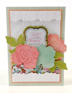 Anna Griffin embossing folder, die cut, and punched flowers card