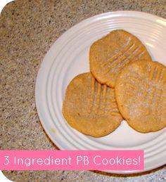 3 ingredient peanut butter cookies! So easy. #cookies #recipe #dessert