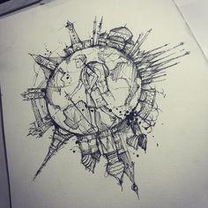 "Eu quero!!!!!! Tyago Compiani (@tyagochronos) no Instagram: ""Sketch #world #backpacker"""