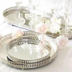 Gilt or silver oval galleried mirror trays Mirror Tray, Vanity Tray, Decorative Accessories, Home Accessories, Silver Pooja Items, Wedding Prep, Wedding Table, Pooja Room Door Design, Square Tray