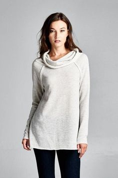 VB-Solid Long Sleeve French Terry Turtle Neck Tunic Top