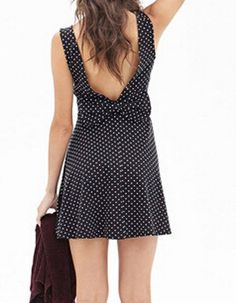 Sweet Scoop Neck Sleeveless Polka Dot Backless Bowknot Dress For Women