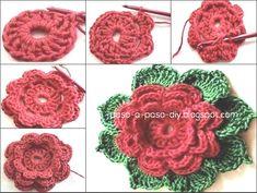 Para hacer esta flor al crochet , realiza un anillo mágico y teje 16 varetas. La segunda hilera e...