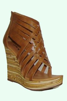 Tan strappy Colette wedge shoe.  $28