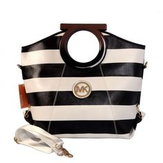 Michael Kors Striped Large Black White Clutches