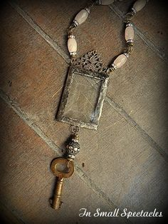 Long Soldered Glass and Vintage Rose Quartz Key Necklace by InSmallSpectacles on Etsy