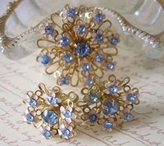 Vintage Blue Rhinestone & Enamel Flower Pin & Earrings 50s Retro #Unbranded