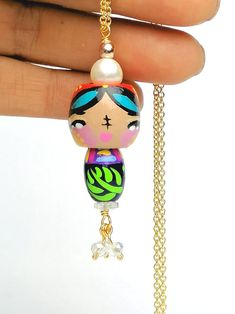 Tiny Charm 2 Guna Necklace Hand Painted Kokeshi Doll   Etsy Gold River, 3 Shop, Kokeshi Dolls, Faceted Glass, Pearl White, Necklace Lengths, Hippie Boho, How To Look Better, Unique Gifts