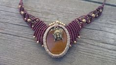 Balancing tigereye crystal macrame necklace by MACHOKEE on Etsy