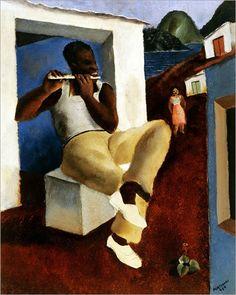 """""""Flutist,"""" Candido Portinari (Brazilian, 1903-1962), Oil on canvas, 1934"""