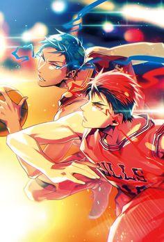 Kagami Taiga x Aomine Daiki / Kuroko no Basket Kagami Vs Aomine, Midorima Shintarou, Kuroko Tetsuya, Manga Anime, Manga Art, Anime Guys, Anime Art, Kuroko No Basket, Haikyuu
