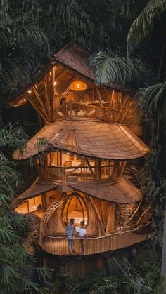 Beautiful Tree Houses, Cool Tree Houses, Beautiful Homes, Bamboo House Bali, Bamboo House Design, Best All Inclusive Honeymoon, Honeymoon Destinations, Beautiful Architecture, Architecture Design