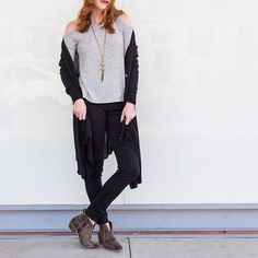 Ice Cold Shoulder  Too cold for you? Pair it with this warm Cardigan and other cute overlays at www.shopelysian.com Stone/Tassel Pendant Necklace $58. In store only. Handmade! Brush Your Should Off Knit Top in Gray $38 online  in-store.  Staycation Button Up Cardigan in Black $48. Online  in-store. Double Black Tribeca Skinny Jeans $118. In store only.  Leather Out West Distressed Bootie in Charcoal $149. online  in-store. #WearElysianDaily http://ift.tt/2f7Erg4 Ice Cold Shoulder  Too cold…