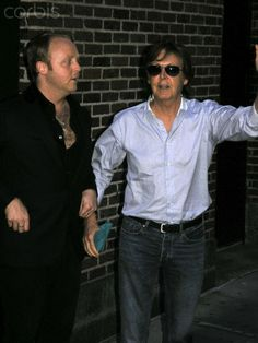 James McCartney and dad Paul McCartney at 'Late Show with David Letterman' in NYC