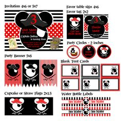 Custom Mickey Mouse or Minnie Mouse Pirate Party by PartyMadeEasy, $30.00 #DisneySide