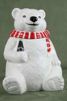 New 1994 Coca Cola COKE Polar Bear Cookie Jar with soda bottle scarf Always Cool #CocaCola - SOLD