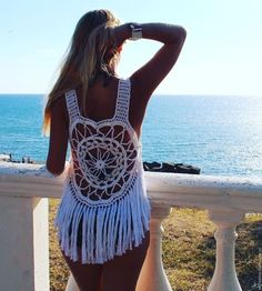 Crochet dress with fringe Summer knit dress Fringe dress Bohochic Cotton crochet dress Knit dress Festival top Hippie top Beach cove up Tops by JannetCrochet on Etsy Crochet Tank Tops, Crochet Top, Cotton Crochet, Hippie Tops, Boho Tops, Boho Swim Suits, Bikinis Crochet, Hippie Crochet, Organic Cotton Yarn