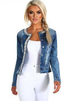 8ce2f8e761c You re A Gem Blue Pearl Embellished Denim Jacket