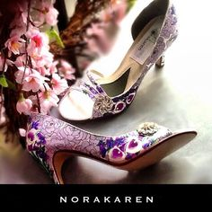 Wedding shoes calla lilies antique roses rhinestones by norakaren