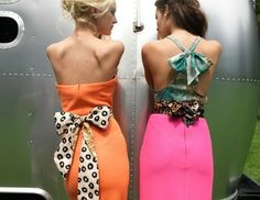 Perfect combination on the orange dress/b pattern ribbon, and the double ribbon on the right is so fun!
