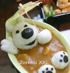 Bear in a bath cute food art! Cute Food, Good Food, Yummy Food, Healthy Food, Bento Recipes, Cooking Recipes, Bento Ideas, Cooking Ideas, Amazing Food Creations