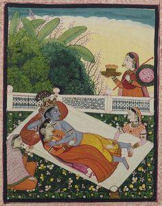 Krishna et Râdhâ sur un lit dans un baldaquin  (C) RMN-Grand Palais (musée Guimet, Paris) / Daniel Arnaudet  1825 gouache, peinture sur papier  Inde