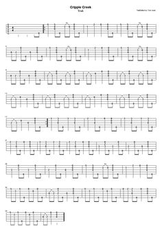 """Tom Joad's Clawhammer Banjo tablature - cripple creek ...old, time, banjo, clawhammer, folk, music, Appalachian, American, traditional, frailing"""