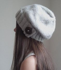 Knit slouchy hat HEATHER GRAY more colors available by OfftheStix