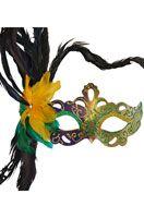 Flirty Feathers Mardi Gras Stick Mask (Purple)