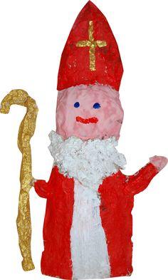 Sinterklaas gemaakt met papier-mache.