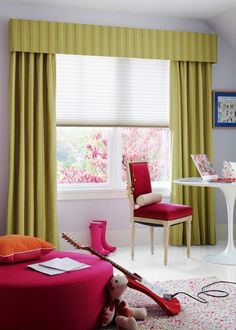 Cheerful Nuance For Kid Bedroom Present Pouffe Round Table And Chair Paired With Fancy Window Covering
