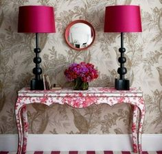 My Home Rocks is a place of Interior Design, Home Decor, Bathroom Ideas, Bedroom Ideas, and more. Get Inspiration for your Home Design. Hallway Colour Schemes, Hallway Colours, Color Schemes, Pink Hallway, Striped Hallway, Room Colors, Hallway Decorating, Interior Decorating, Interior Design