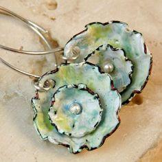 Double+Flower+Cup+Earrings++Kiln+Fired+Copper+Enamel+by+tekaandzoe,m$44.00